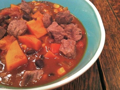 Smoky Southwestern Chili with Steak and Sweet Potato