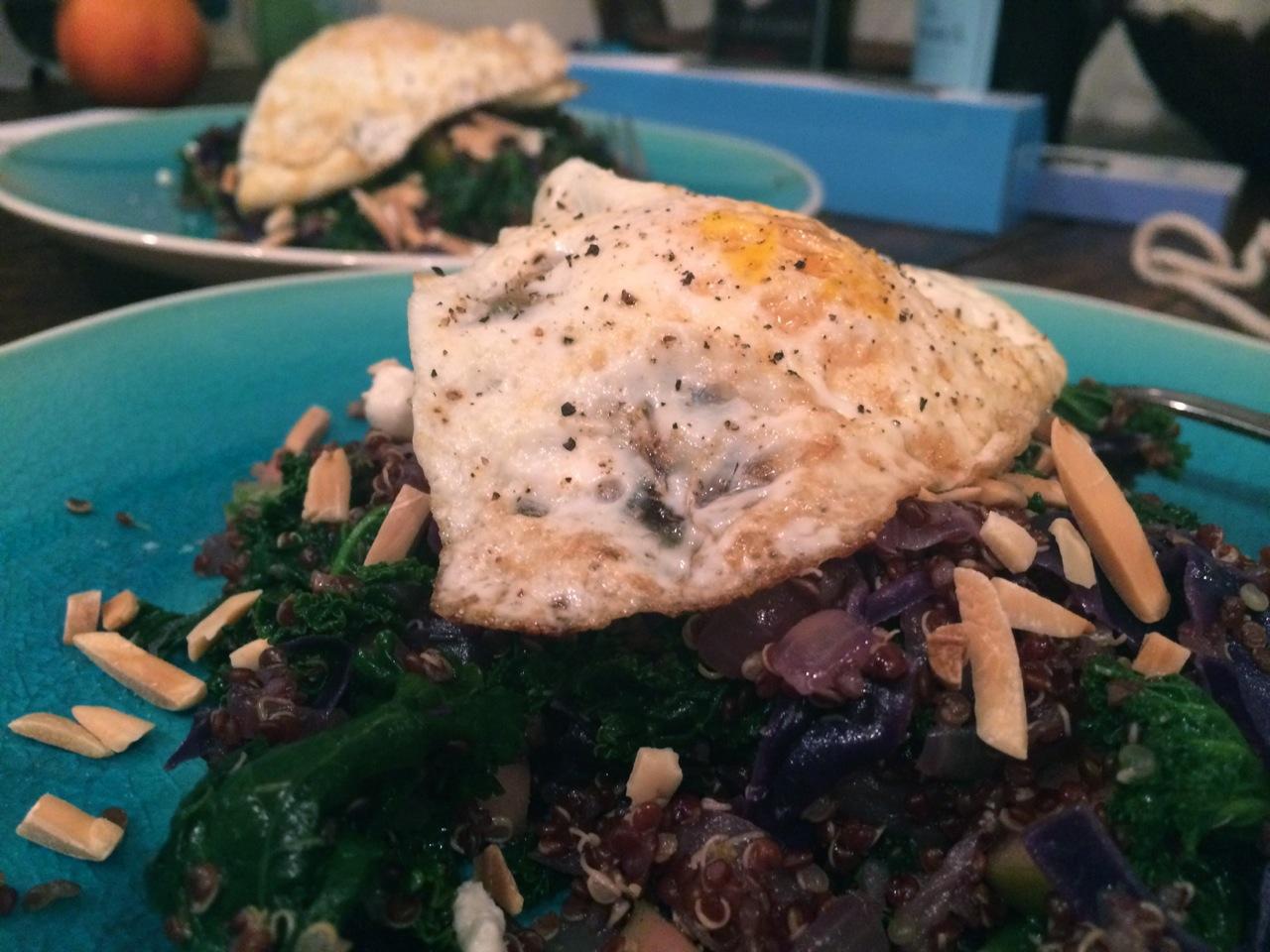 Red Quinoa Cabbage Kale Salad