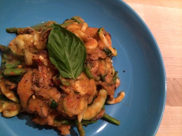 Sautéed Zucchini Noodles & Shrimp in Sweet Potato-Red Pepper Sauce