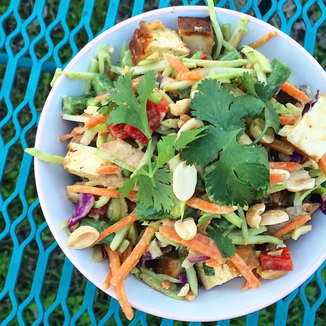 Crunchy  Chopped Thai Peanut Tofu Salad