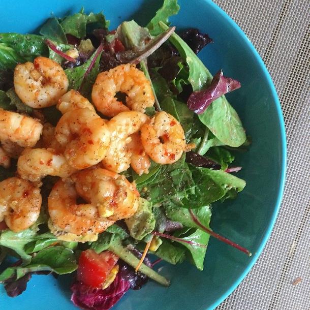 Hot Spicy Garlic Shrimp Salad