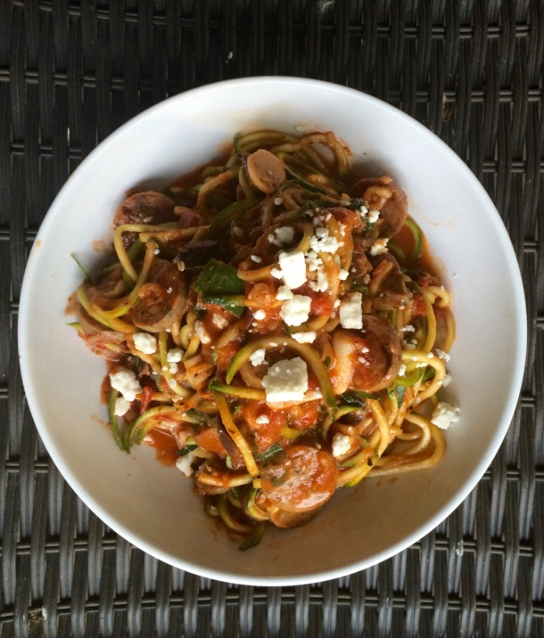 Spiralizer Zoodles with Homemade Tomato Sauce and Organic Chicken Sausage