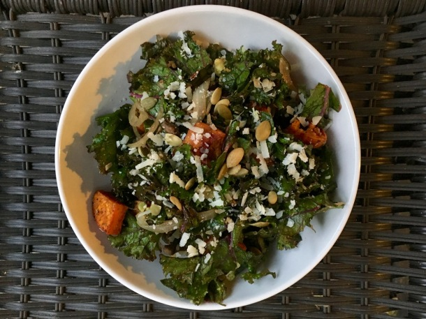 Warm Kale Salad with Roasted Sweet Potato and Aged Parmesan