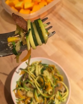 Spiralized Butternut Squash + Zucchini Noodles with Parmesan